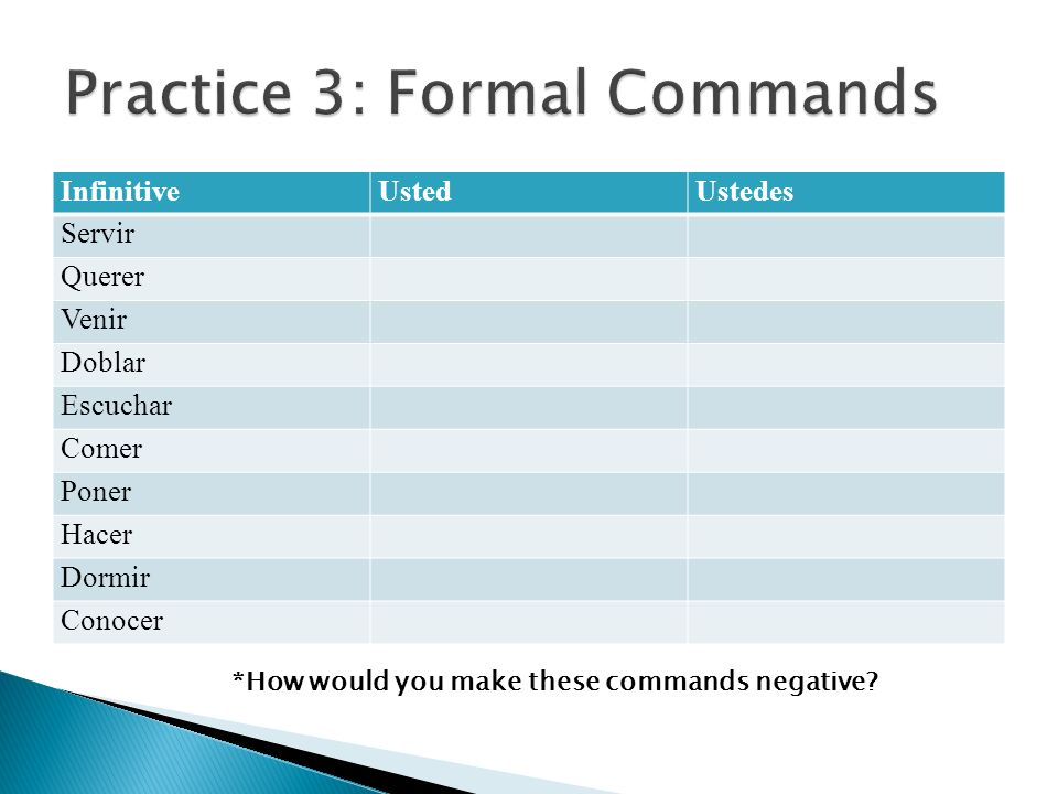 Practice 3: Formal Commands