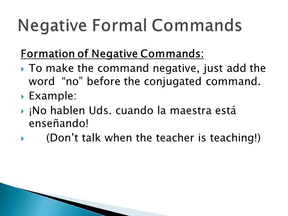 Negative Formal Commands