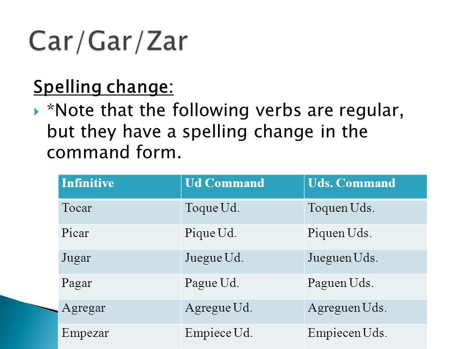Car/Gar/Zar Spelling change: