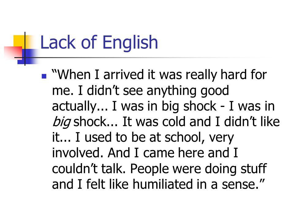 Lack of English