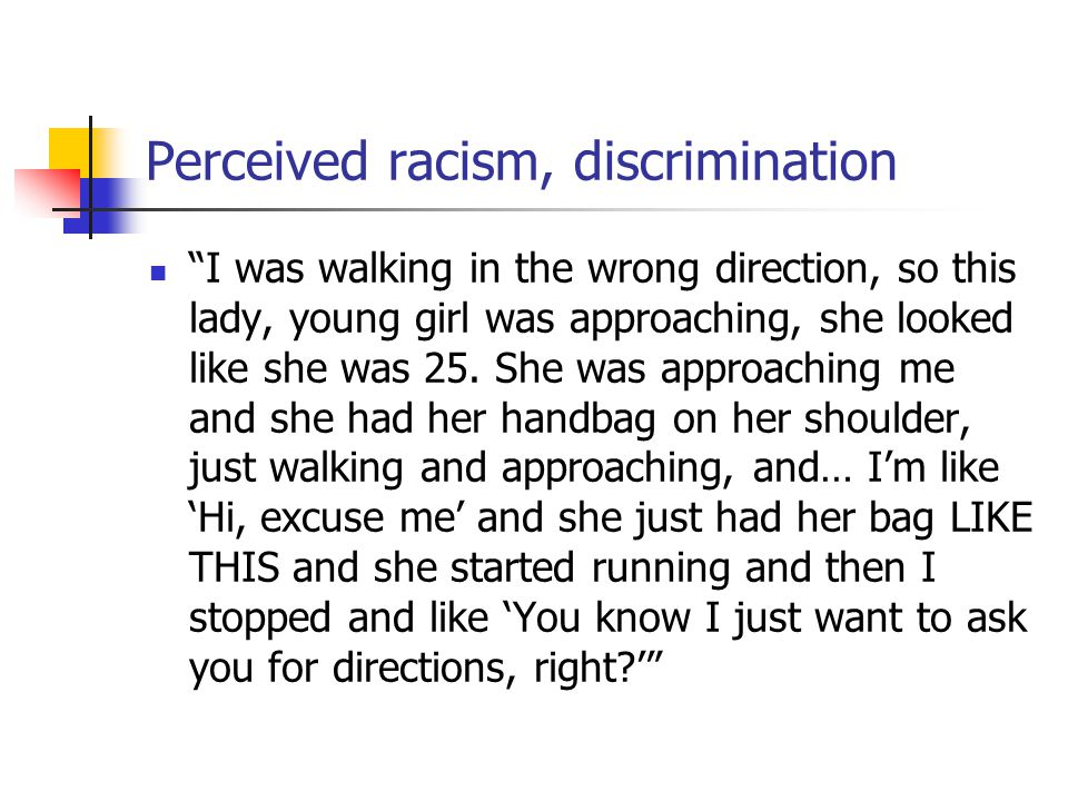 Perceived racism, discrimination