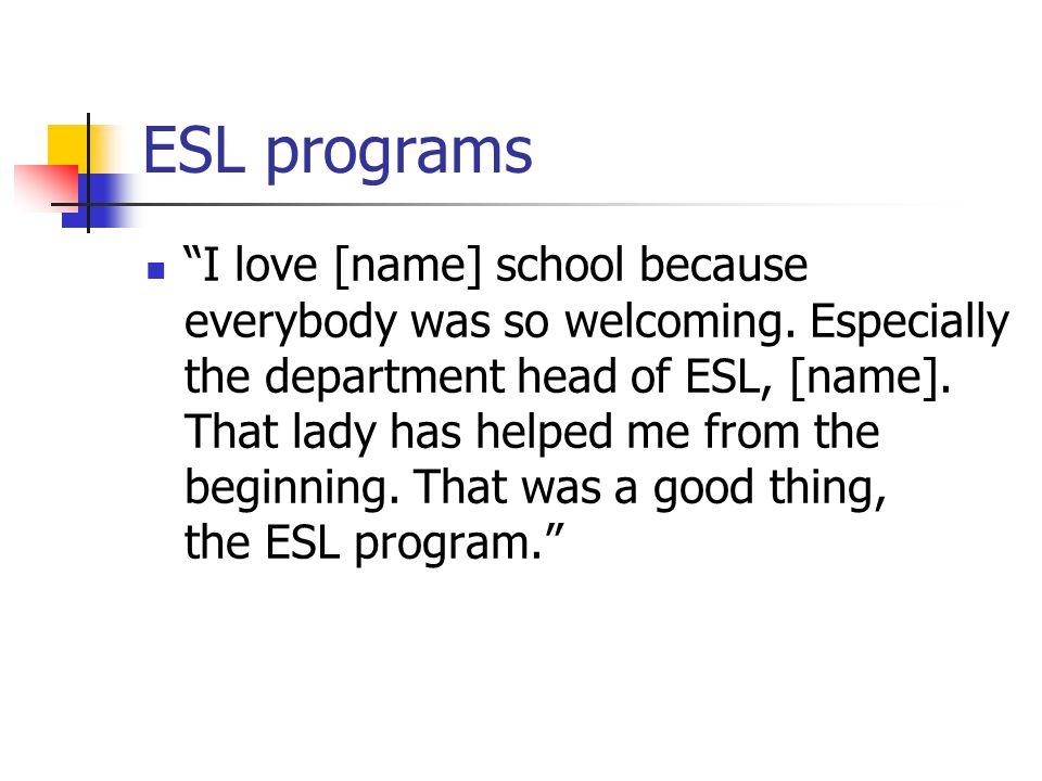 ESL programs