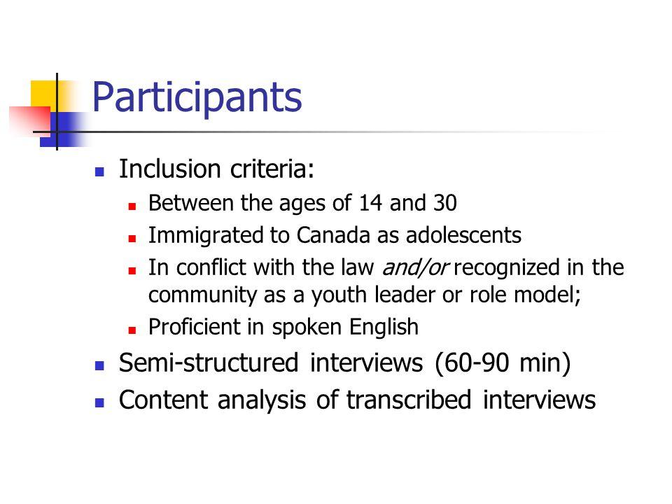 Participants Inclusion criteria: