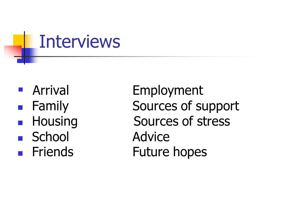 Interviews Arrival Employment Family Sources of support