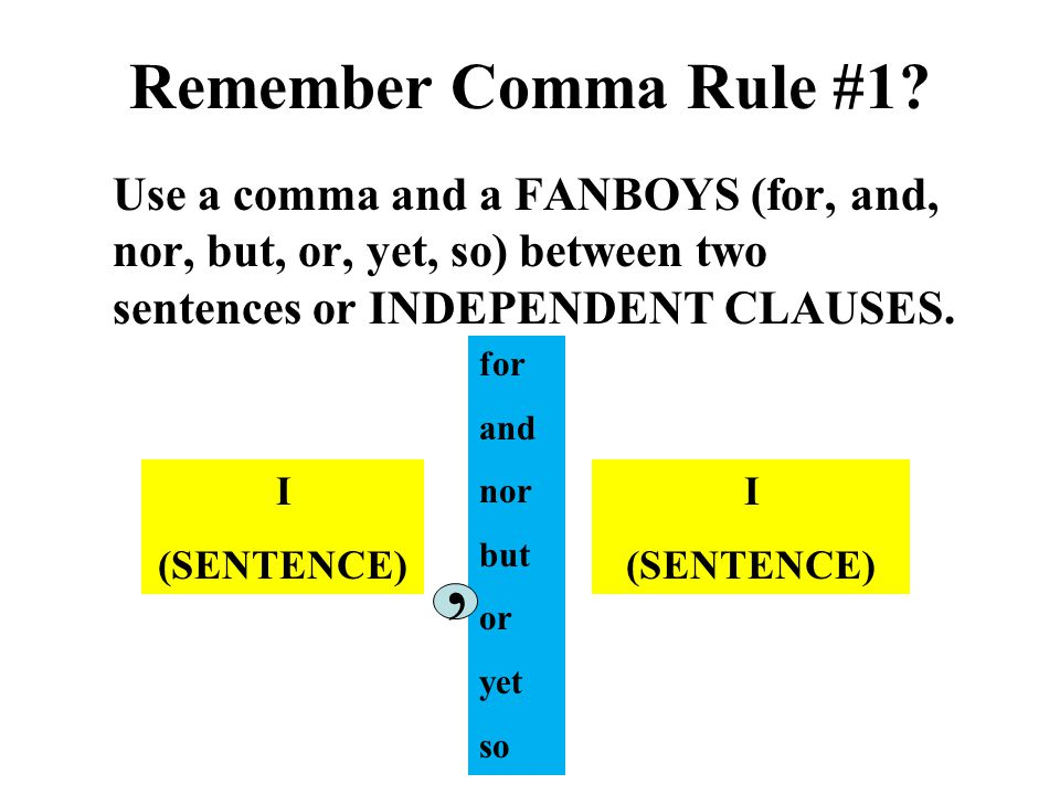 Remember Comma Rule #1 Use a comma and a FANBOYS (for, and, nor, but, or, yet, so) between two sentences or INDEPENDENT CLAUSES.
