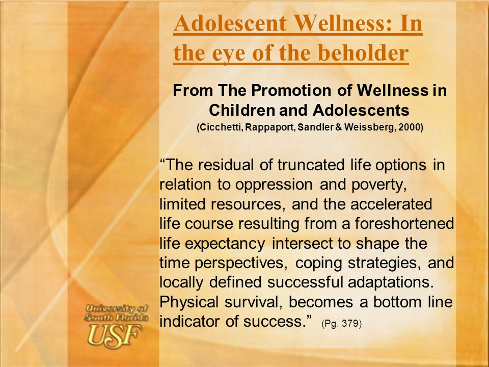 Adolescent Wellness: In the eye of the beholder