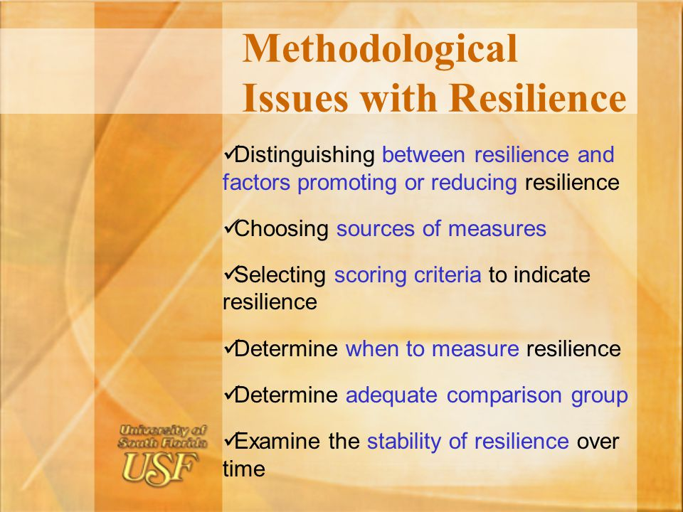Methodological Issues with Resilience