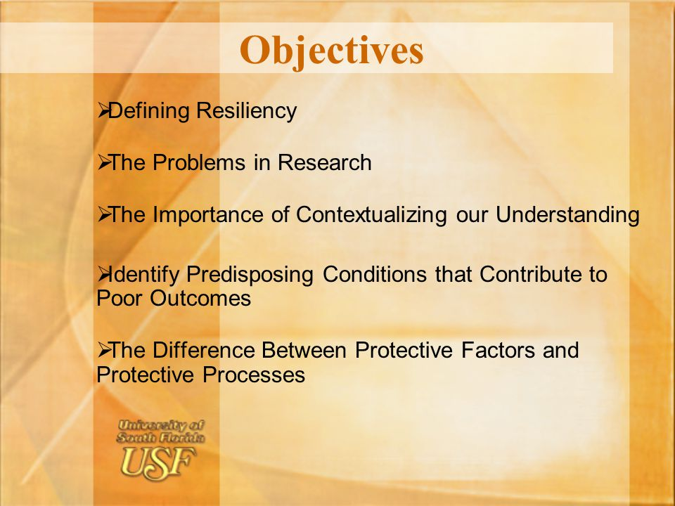 Objectives Defining Resiliency The Problems in Research