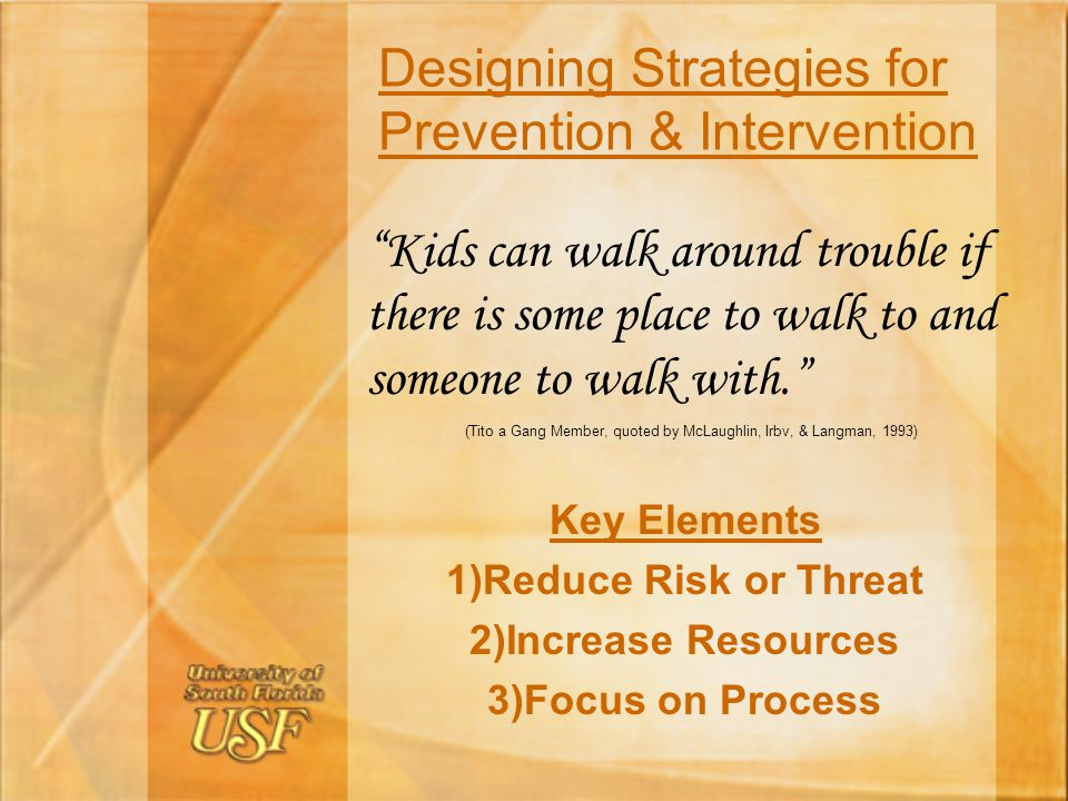 Designing Strategies for Prevention & Intervention