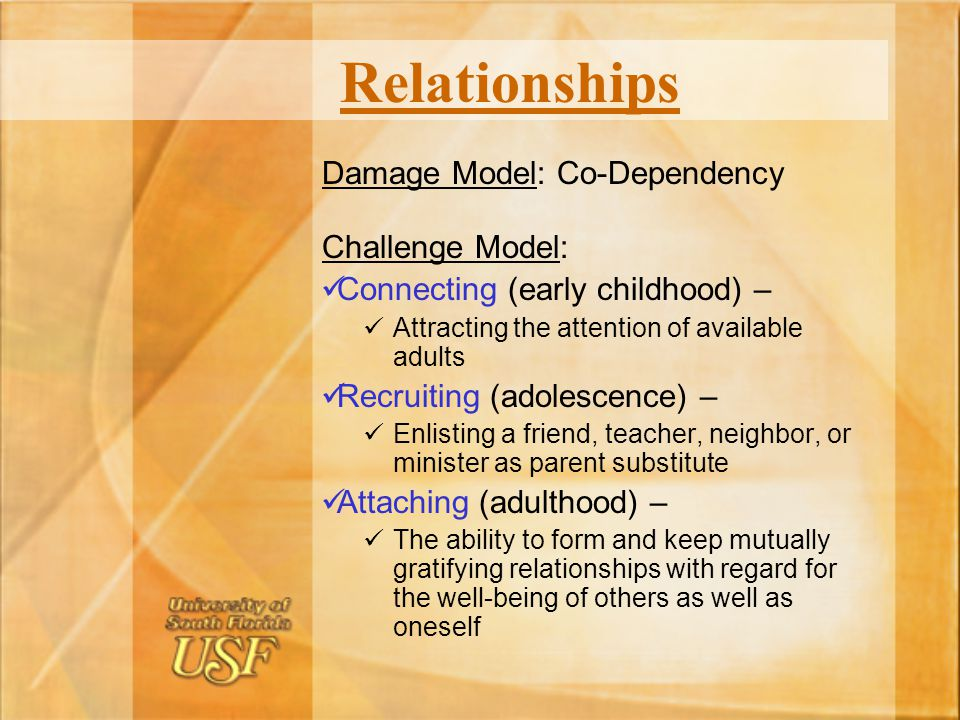 Relationships Damage Model: Co-Dependency Challenge Model: