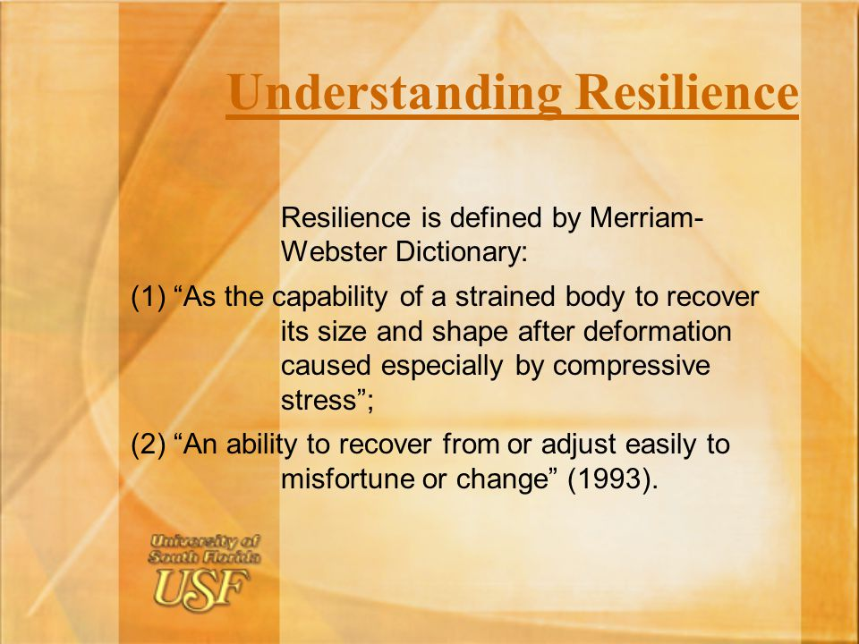 defining and understanding resilience Defining and measuring community resilience to natural disasters:  have an understanding of the resilience factors that are important in your community.