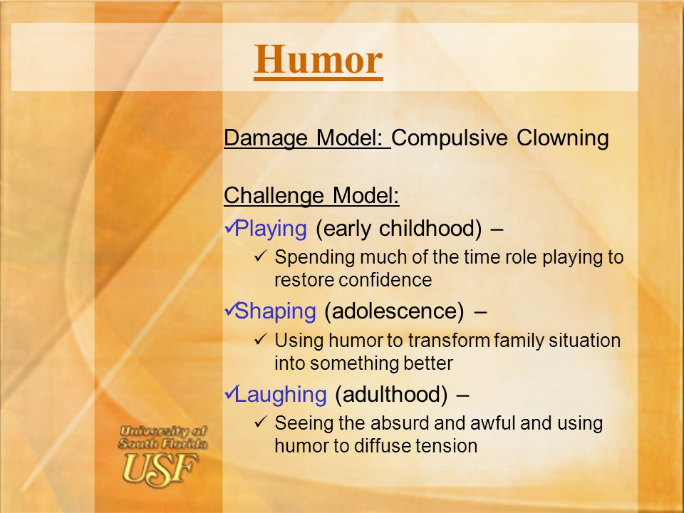 Humor Damage Model: Compulsive Clowning Challenge Model: