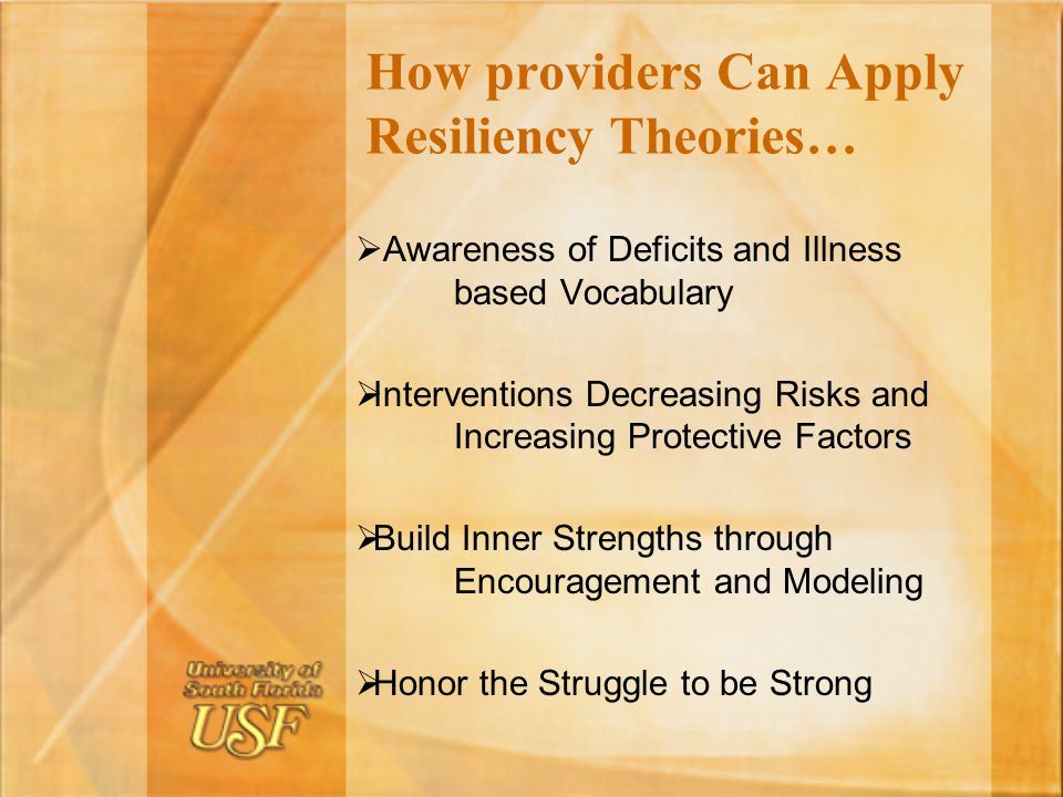 How providers Can Apply Resiliency Theories…