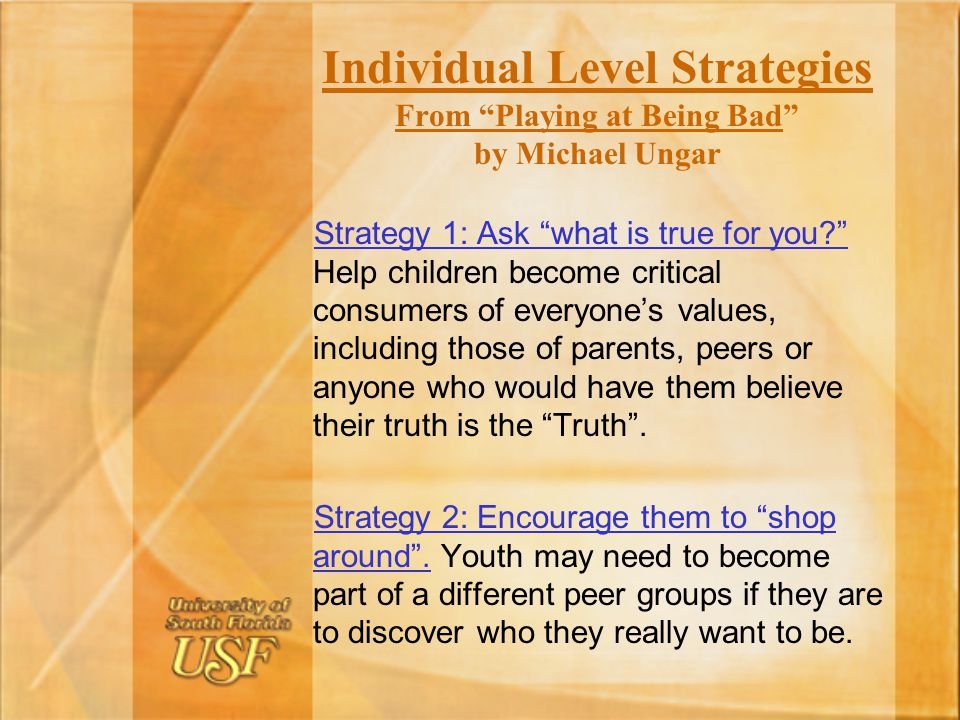 Individual Level Strategies From Playing at Being Bad by Michael Ungar
