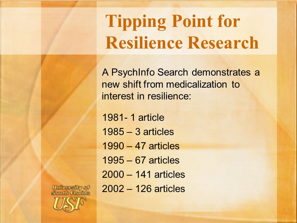 Tipping Point for Resilience Research