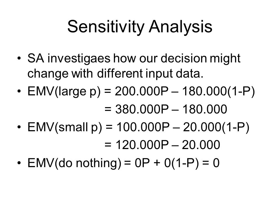 Sensitivity Analysis SA investigaes how our decision might change with different input data. EMV(large p) = 200.000P – 180.000(1-P)