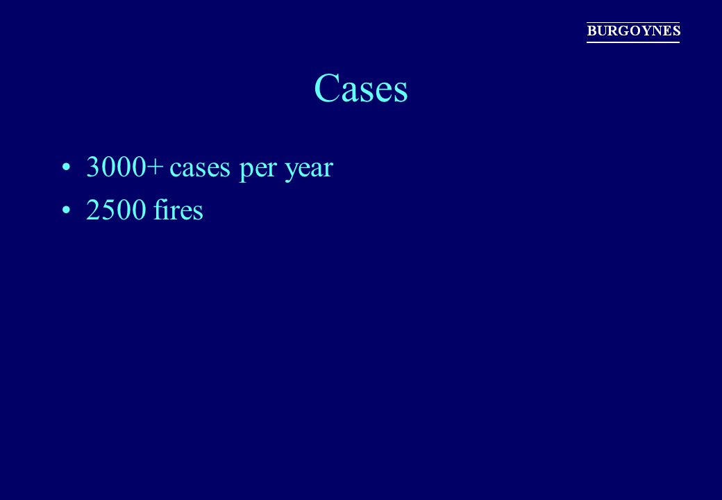 Cases 3000+ cases per year 2500 fires