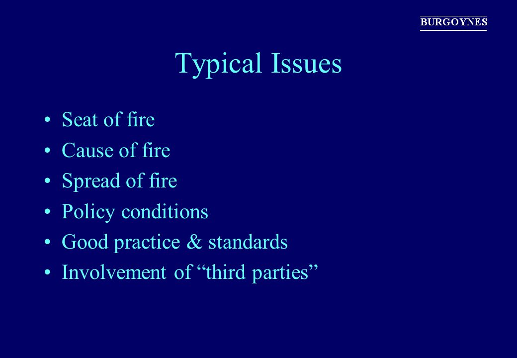 Typical Issues Seat of fire Cause of fire Spread of fire