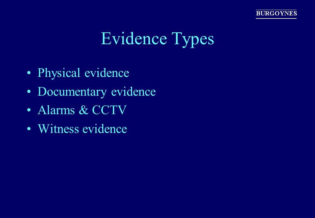 Evidence Types Physical evidence Documentary evidence Alarms & CCTV