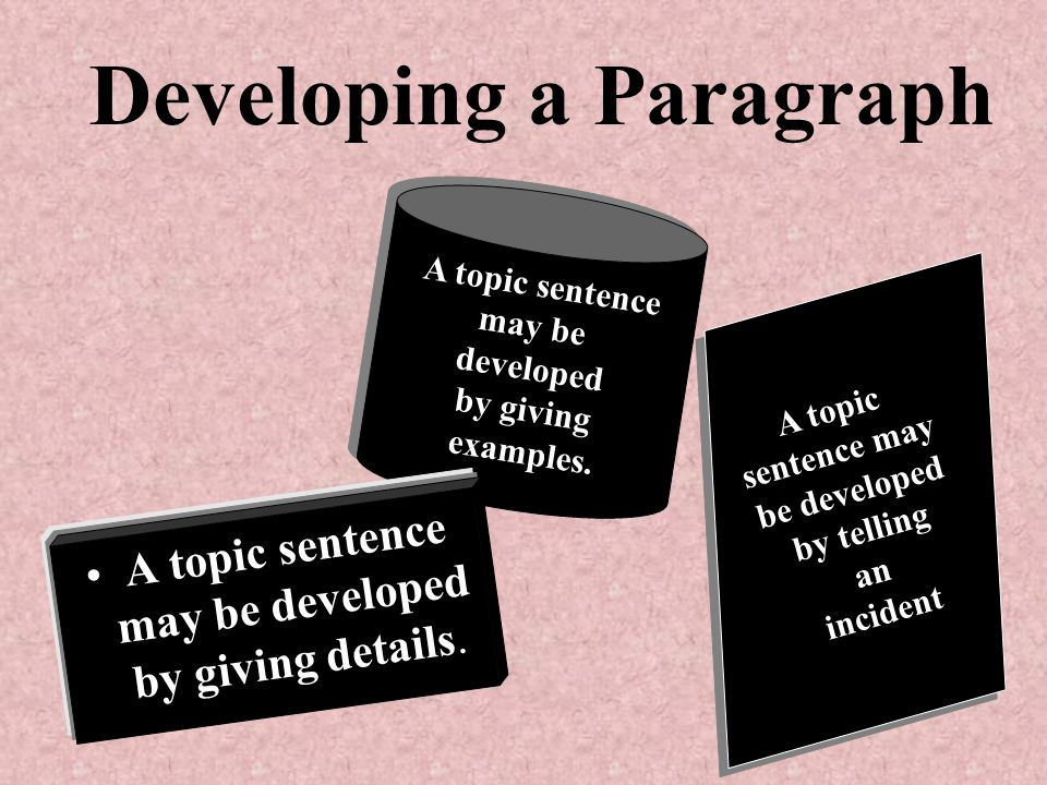 A topic sentence may be developed by giving details.