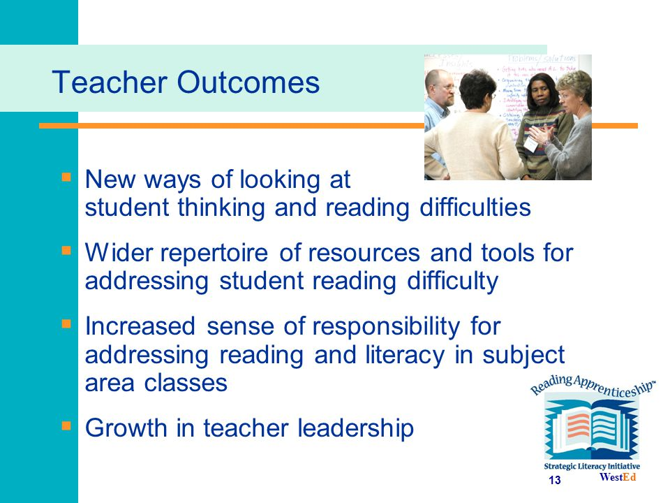 Teacher Outcomes New ways of looking at student thinking and reading difficulties.