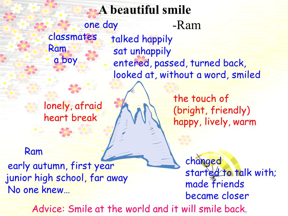 A beautiful smile -Ram one day classmates talked happily Ram a boy