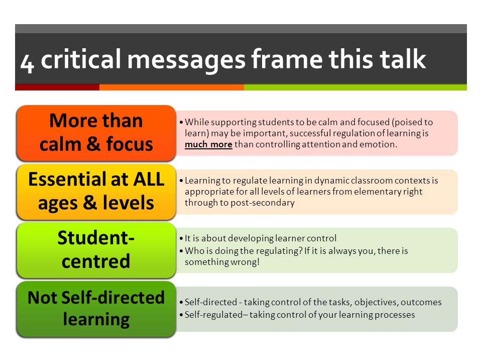 4 critical messages frame this talk