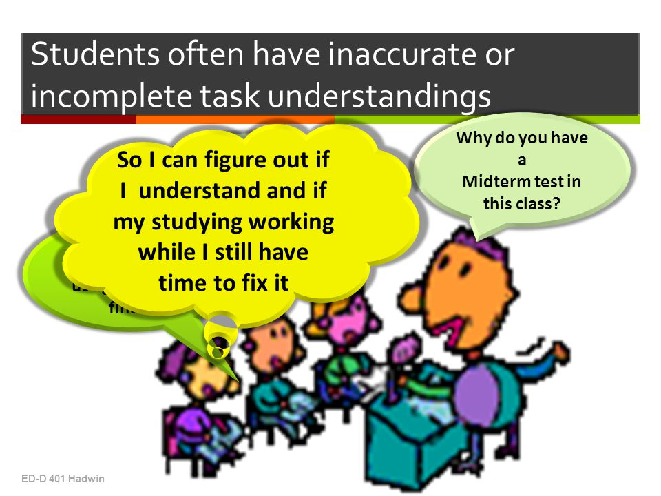 Students often have inaccurate or incomplete task understandings