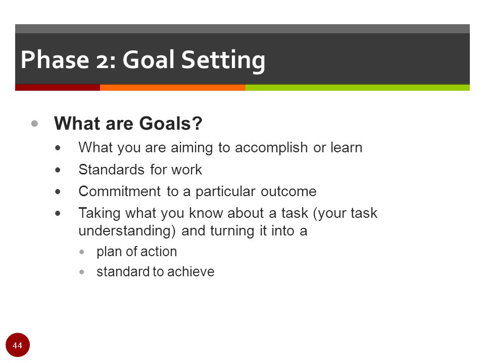 Phase 2: Goal Setting What are Goals