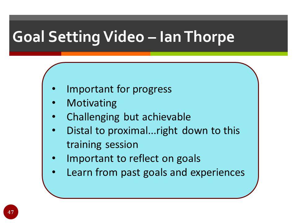 Goal Setting Video – Ian Thorpe