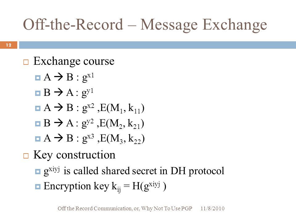 Off-the-Record – Message Exchange