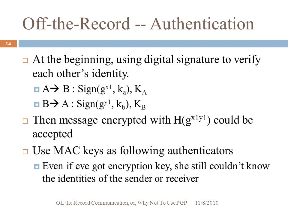Off-the-Record -- Authentication