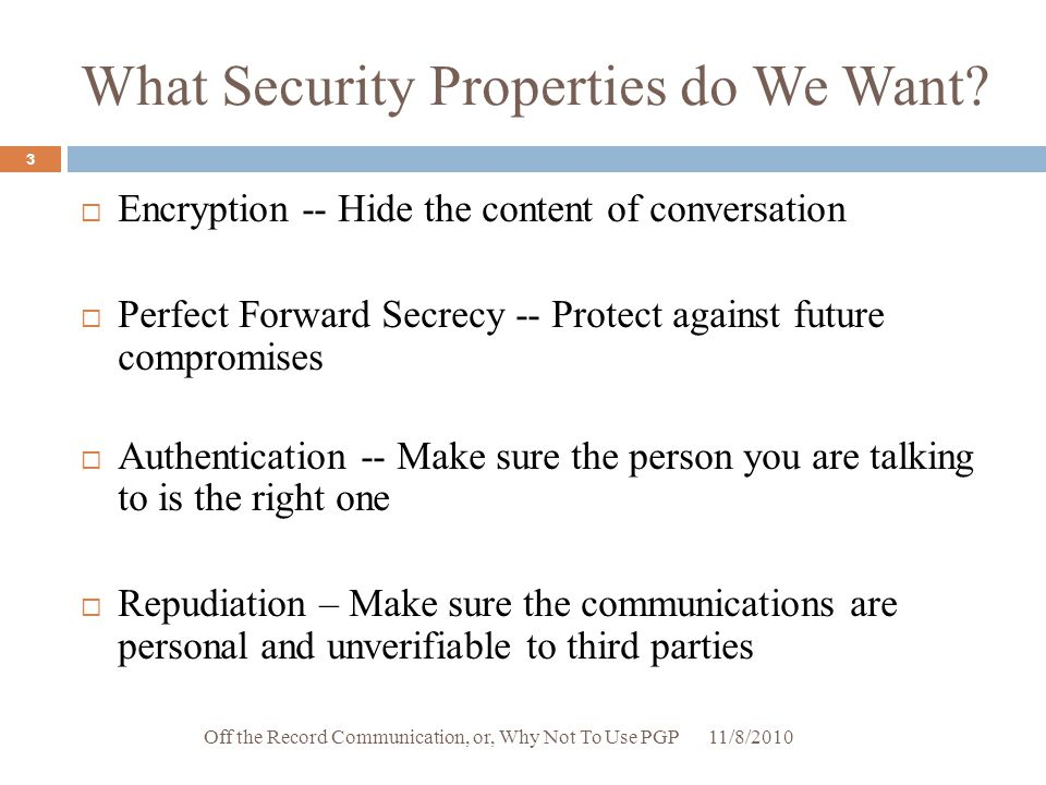 What Security Properties do We Want