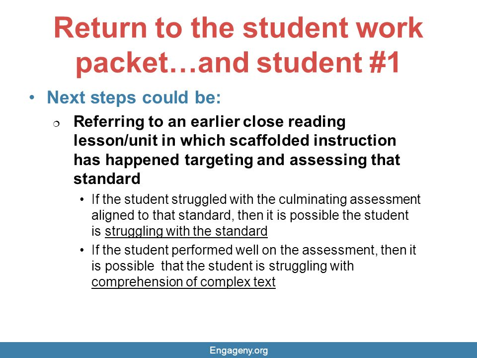 Return to the student work packet…and student #1