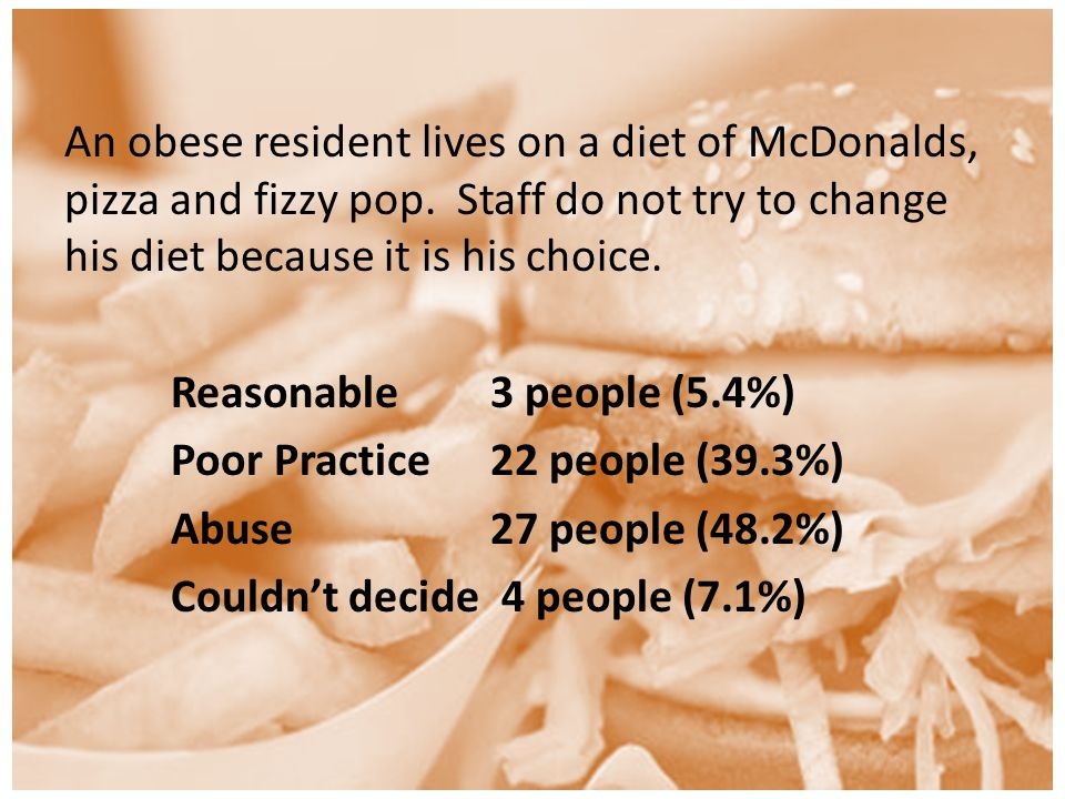 An obese resident lives on a diet of McDonalds, pizza and fizzy pop