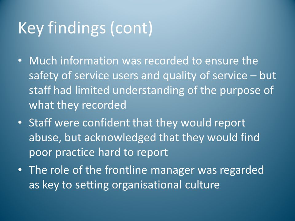 Key findings (cont)