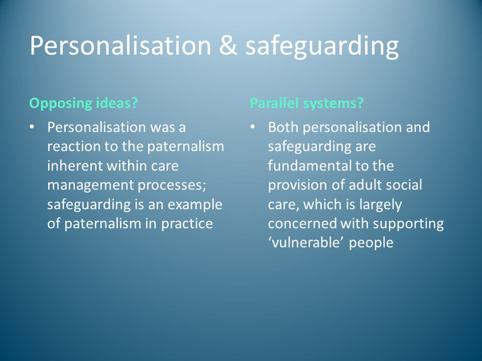 Personalisation & safeguarding