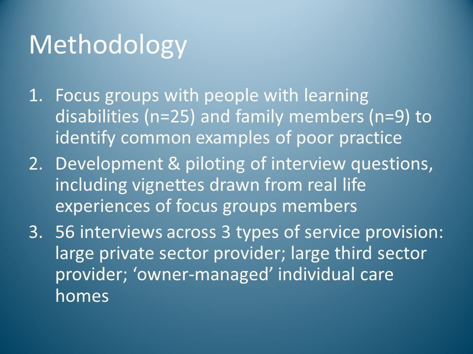 Methodology Focus groups with people with learning disabilities (n=25) and family members (n=9) to identify common examples of poor practice.