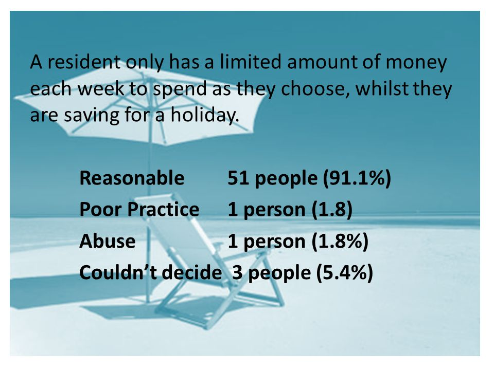 A resident only has a limited amount of money each week to spend as they choose, whilst they are saving for a holiday.