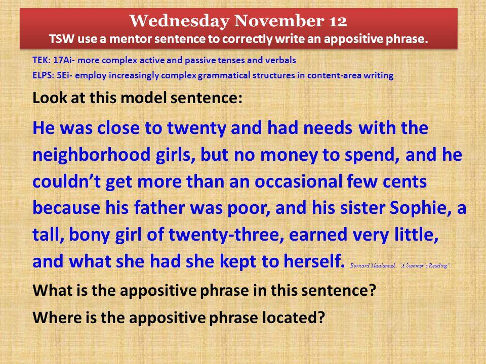 Wednesday November 12 TSW use a mentor sentence to correctly write an appositive phrase.