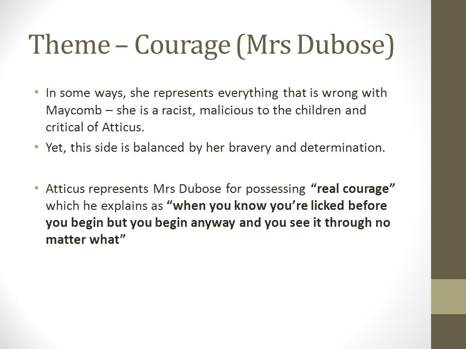 Theme – Courage (Mrs Dubose)