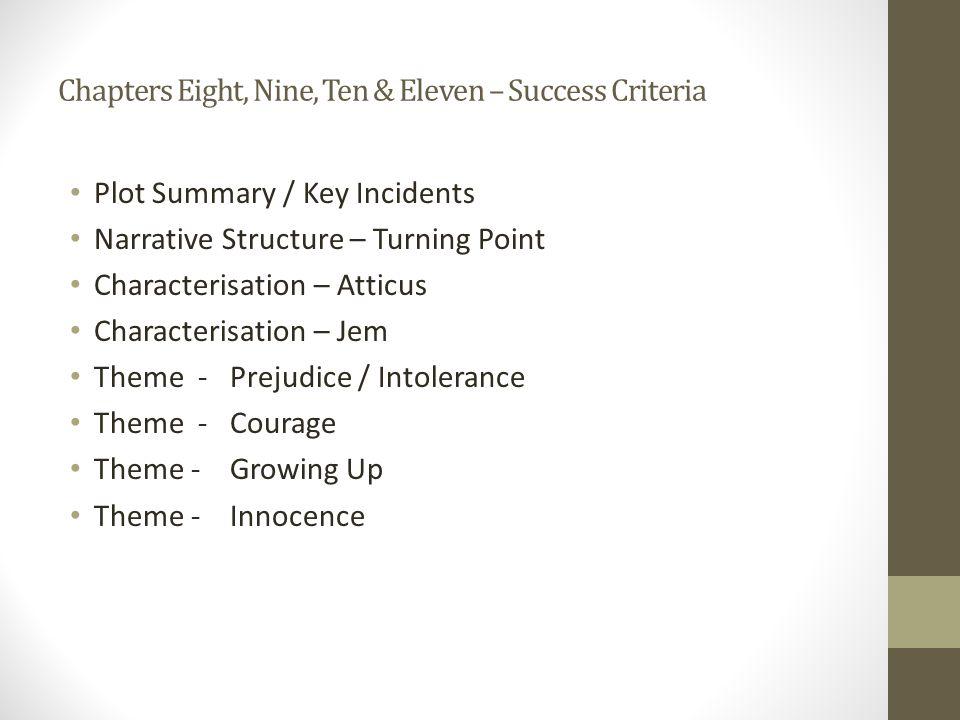 Chapters Eight, Nine, Ten & Eleven – Success Criteria
