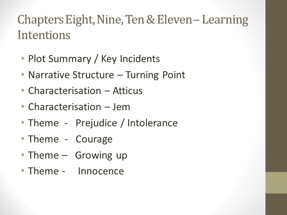 Chapters Eight, Nine, Ten & Eleven – Learning Intentions