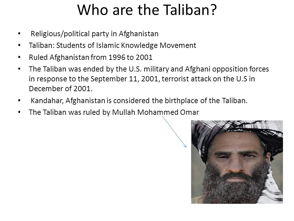 Who are the Taliban Religious/political party in Afghanistan