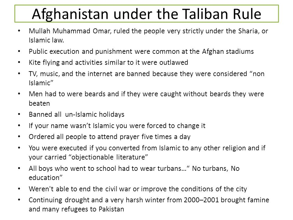 Afghanistan under the Taliban Rule