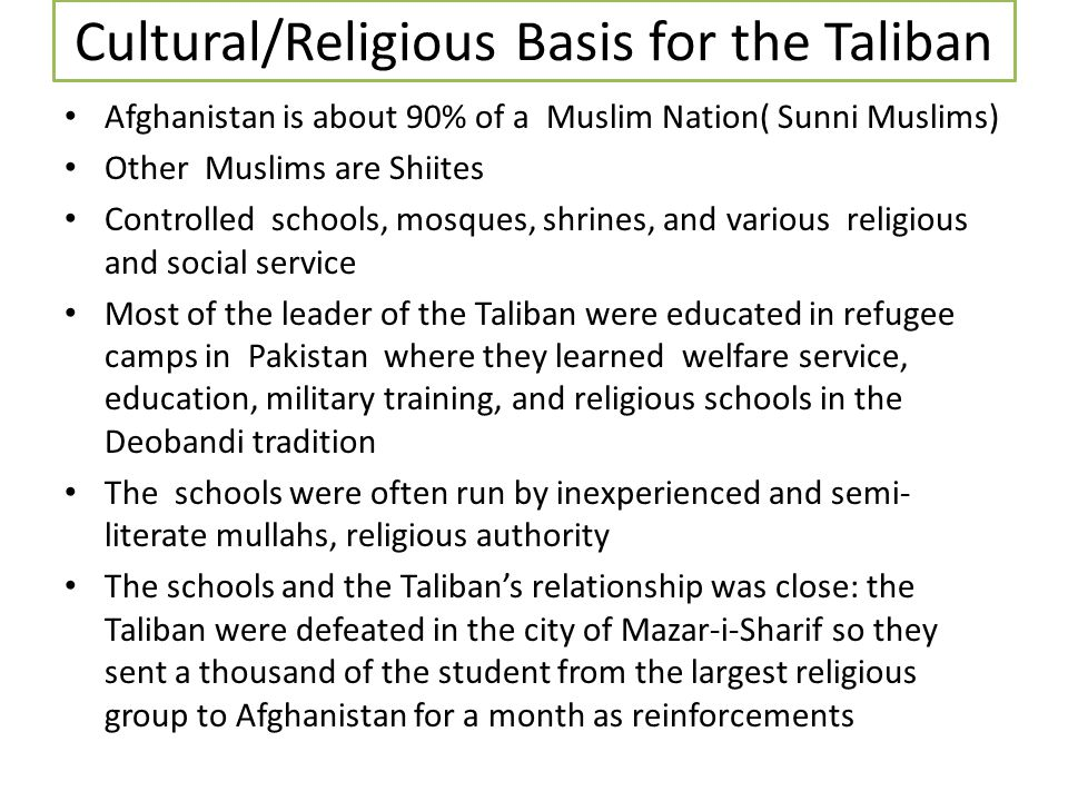 Cultural/Religious Basis for the Taliban