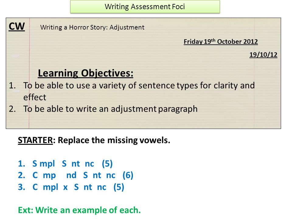 Writing Assessment Foci
