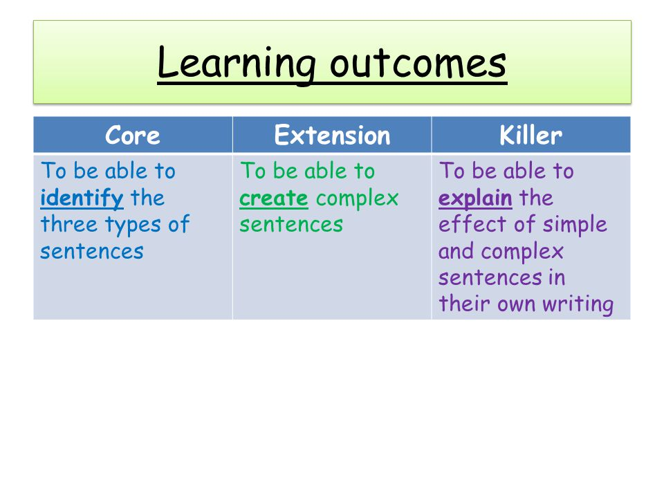 Learning outcomes Core Extension Killer