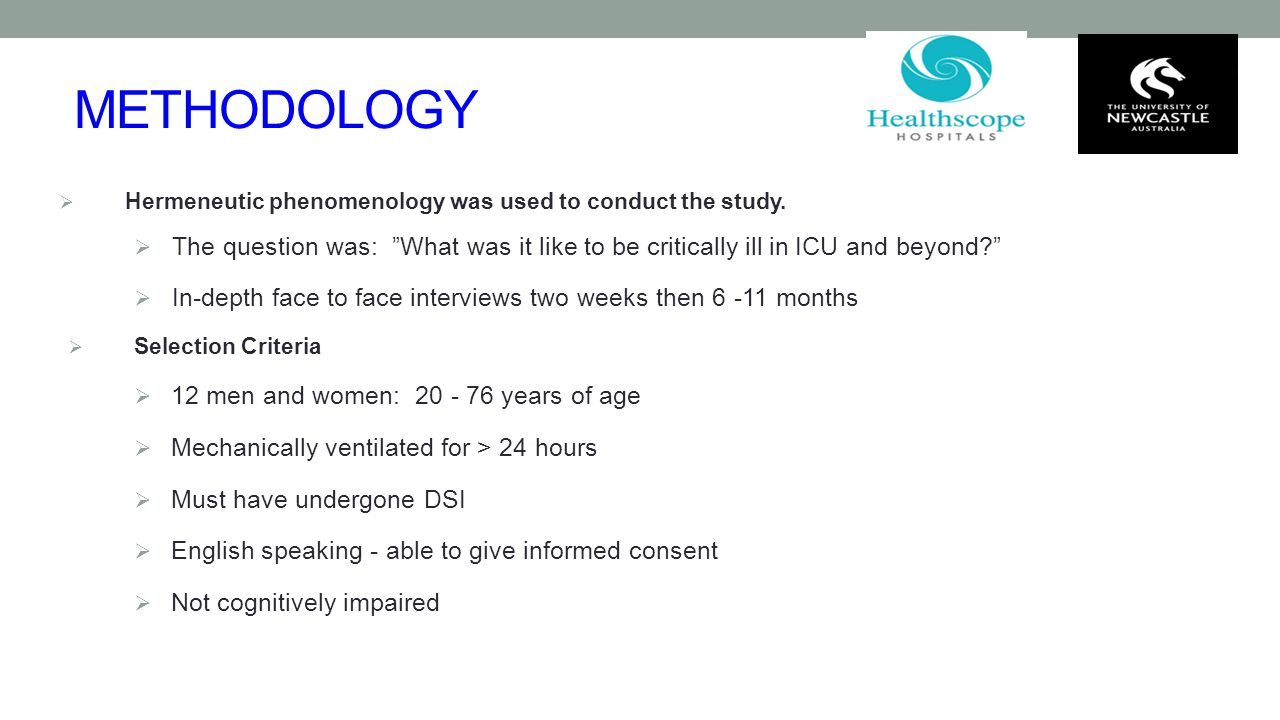 METHODOLOGY Hermeneutic phenomenology was used to conduct the study. The question was: What was it like to be critically ill in ICU and beyond