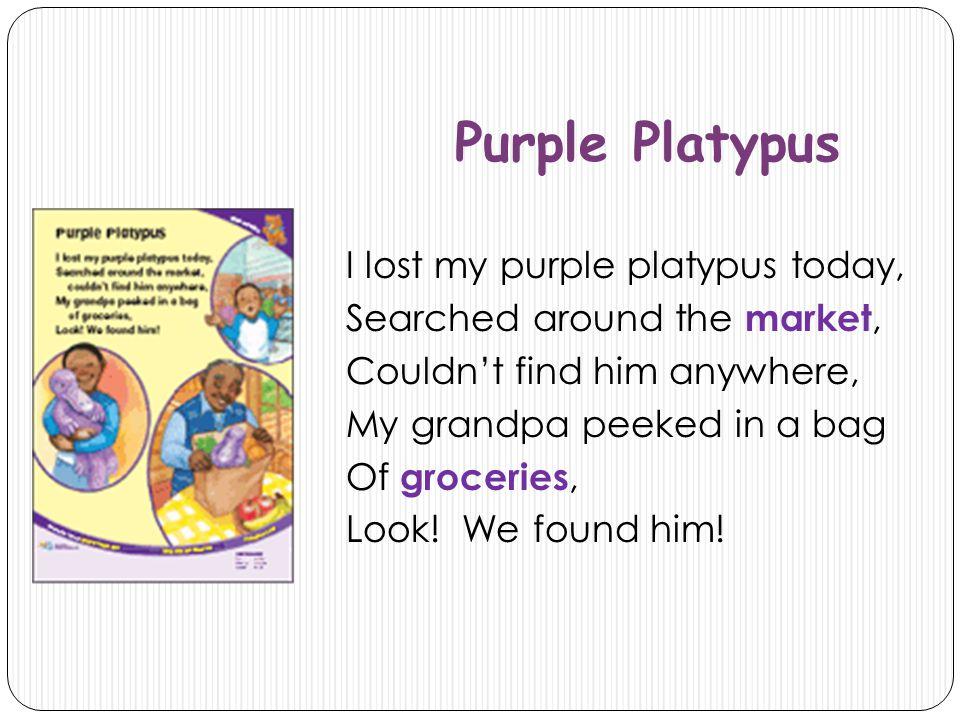 Purple Platypus I lost my purple platypus today,